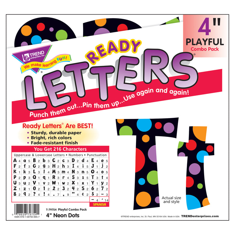 Neon Dots Ready Letters 4in Upper Lowercase Combo