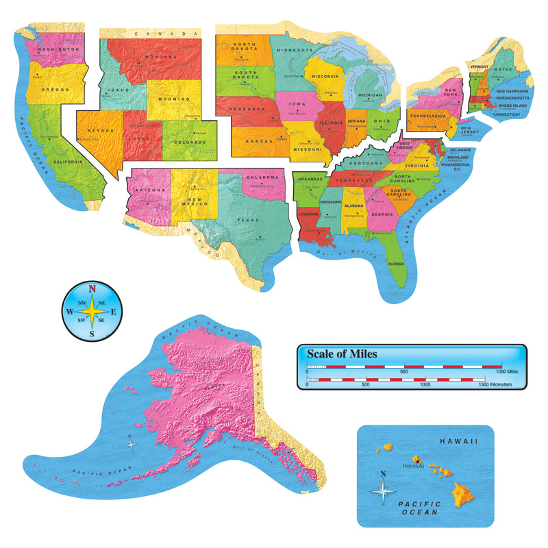 (2 St) Us Map Bb Set 46in Wide Gr 1-8