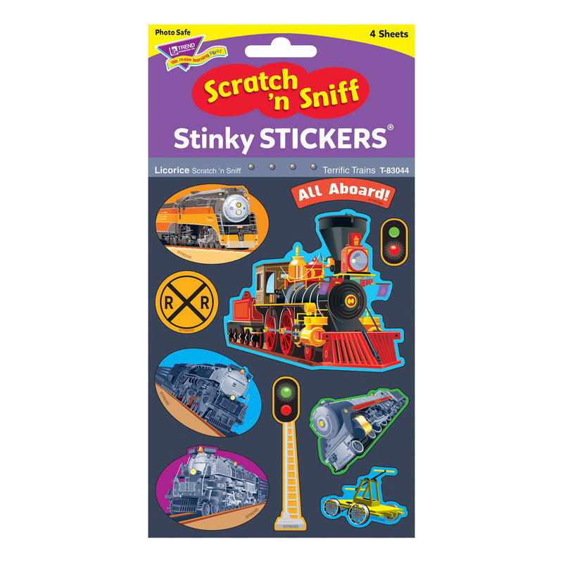 Terrific Trains-licorice Stickers 40ct