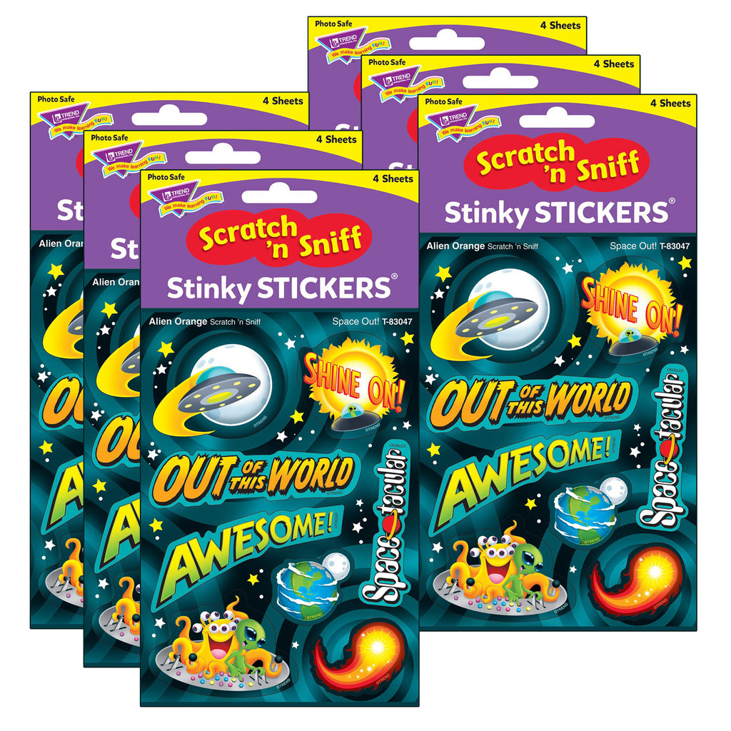 (6 Pk) Space Out-alien Ornge Stickers 32ct