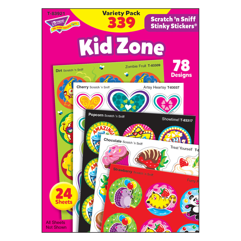(2 Pk) Kid Zone Stinky Stickers Scratch N Sniff Variety Pk