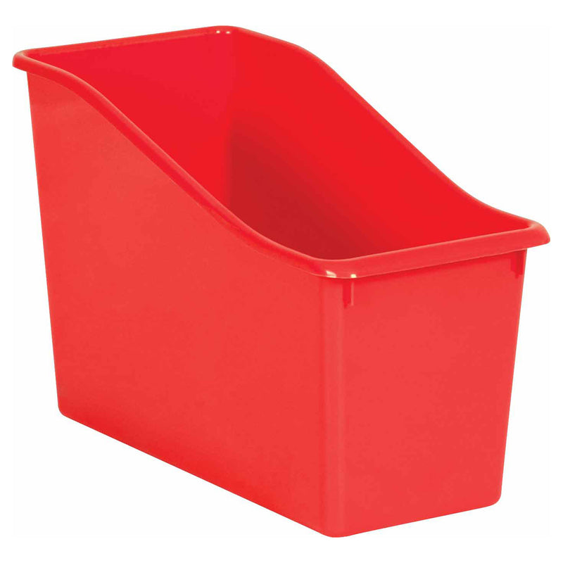 Red Plastic Book Bin
