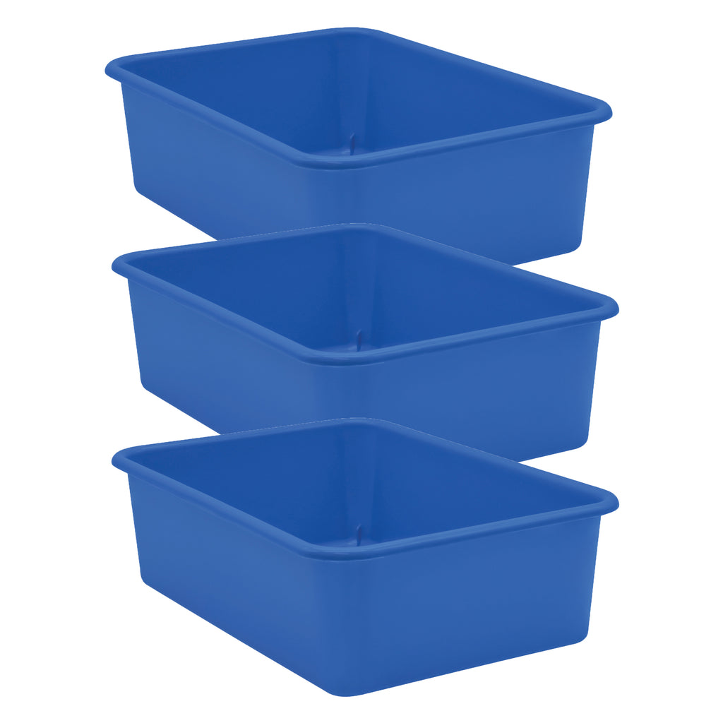 (3 Ea) Blue Large Plastic Storage Bin