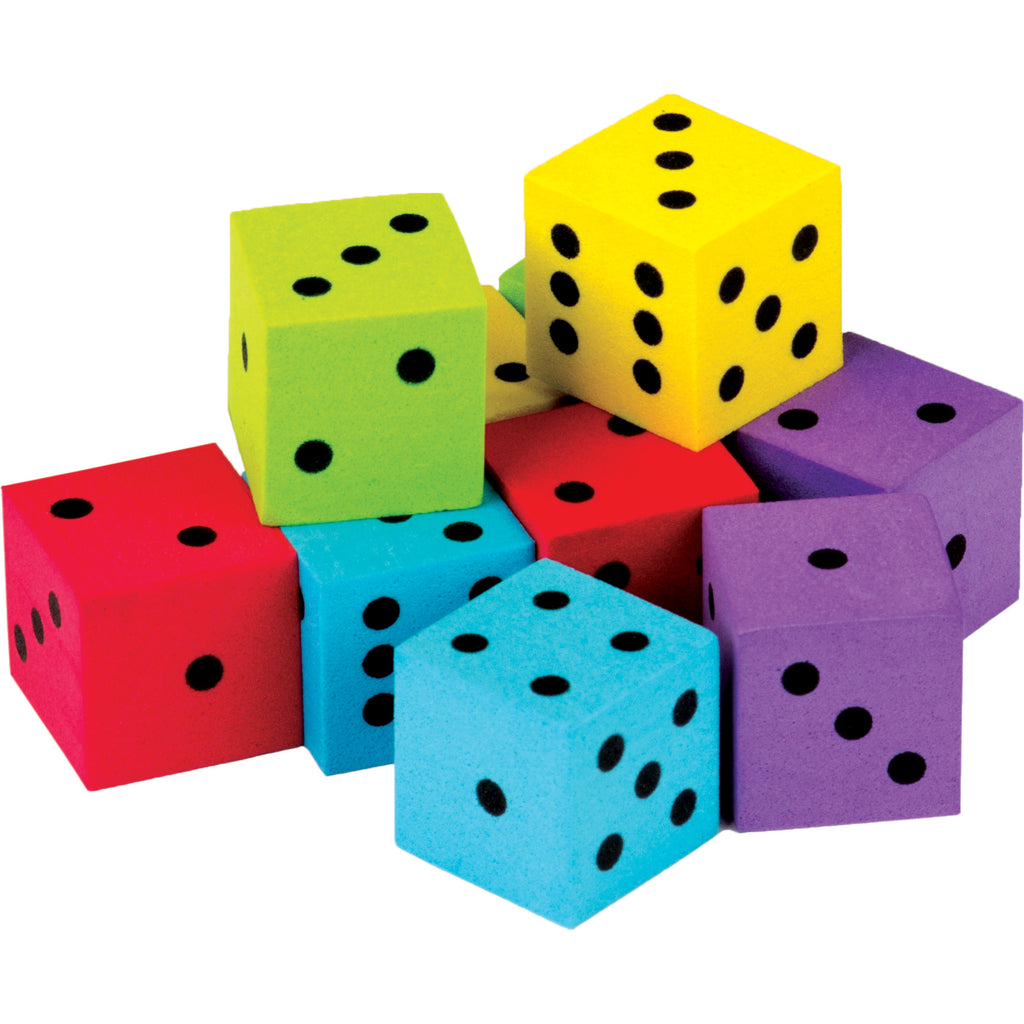 (3 Pk) 20 Pack Foam Colorful Dice