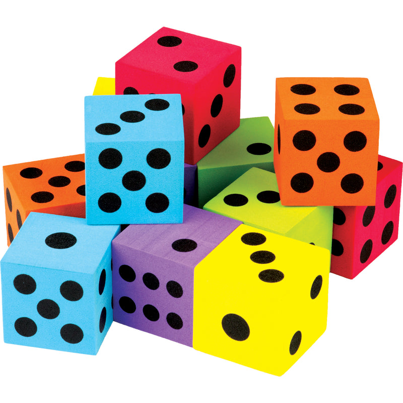 (2 Pk) 12 Pack Foam Colorful Large Dice