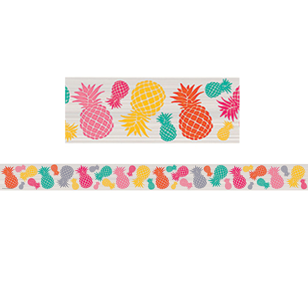(6 Pk) Tropical Punch Pineapples Straight Border Trim