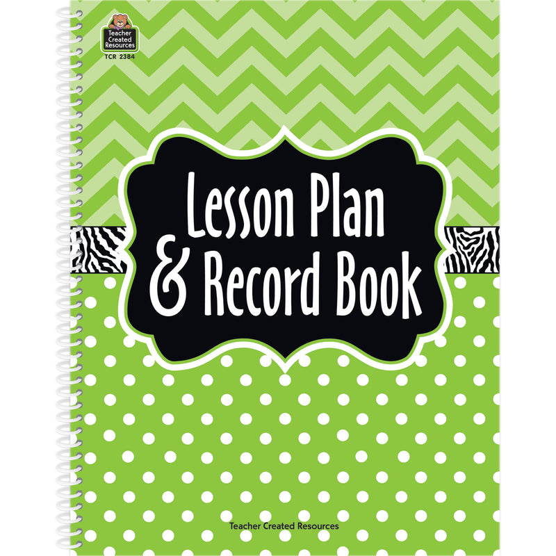 (2 Ea) Lime Chevrons And Dots Lesson Plan & Record Book