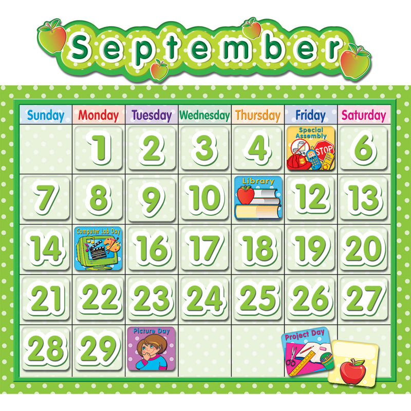 (2 Ea) Polka Dot School Calendar Bb Set