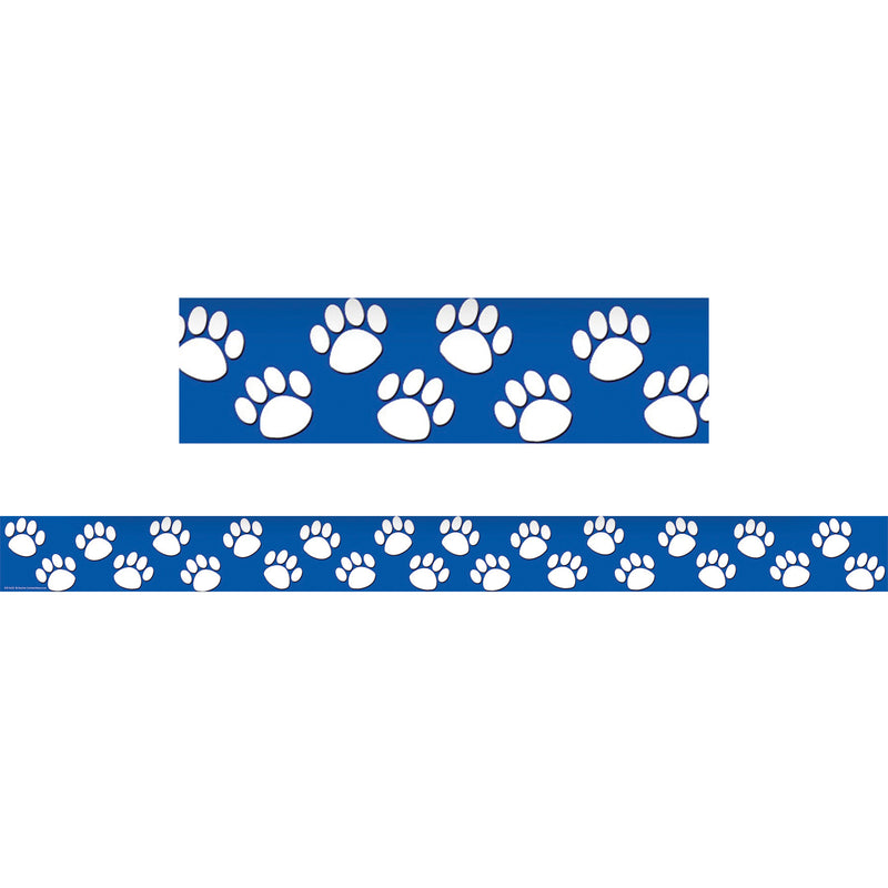 (6 Pk) Blue With White Paw Prints Straight Border Trim