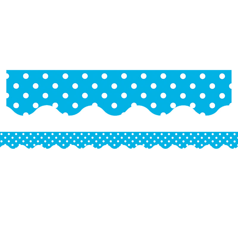 Aqua Mini Polka Dots Border Trim