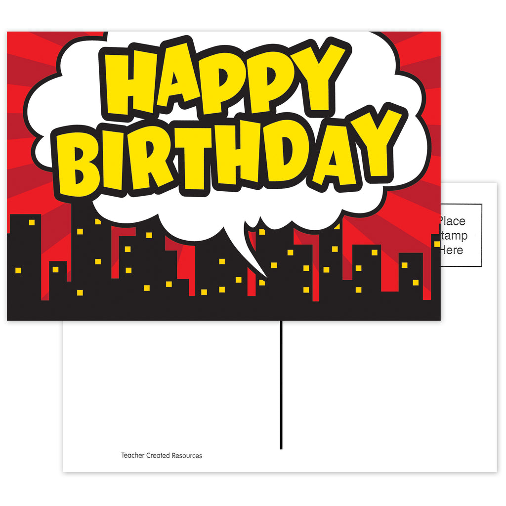 Superhero Happy Birthday Postcard