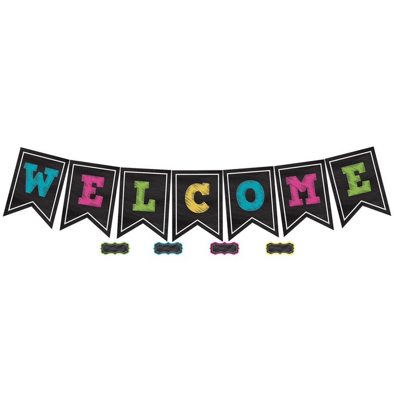 (2 Pk) Chalkboard Brights Pennants Welcome