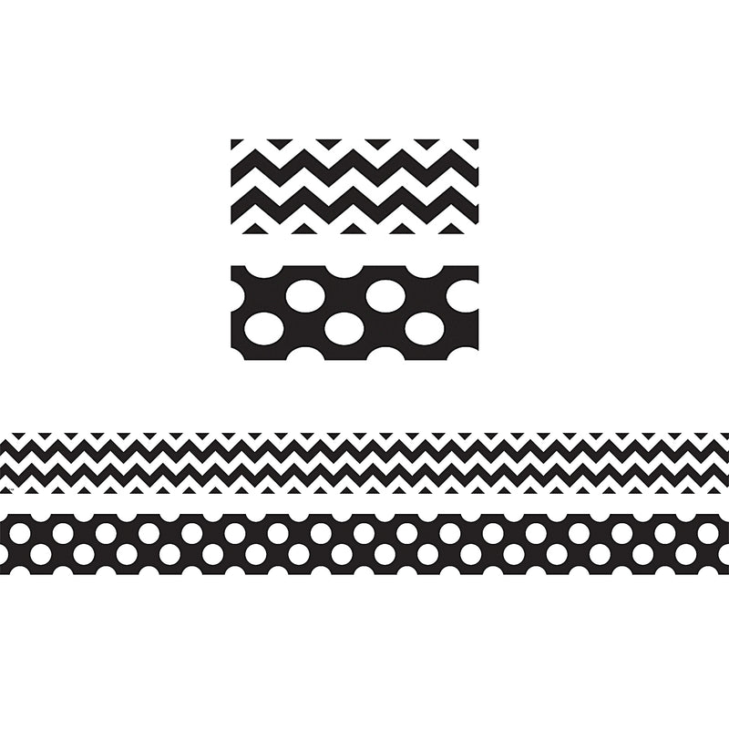 (6 Pk) Black & White Zig Zag Double Sided Border