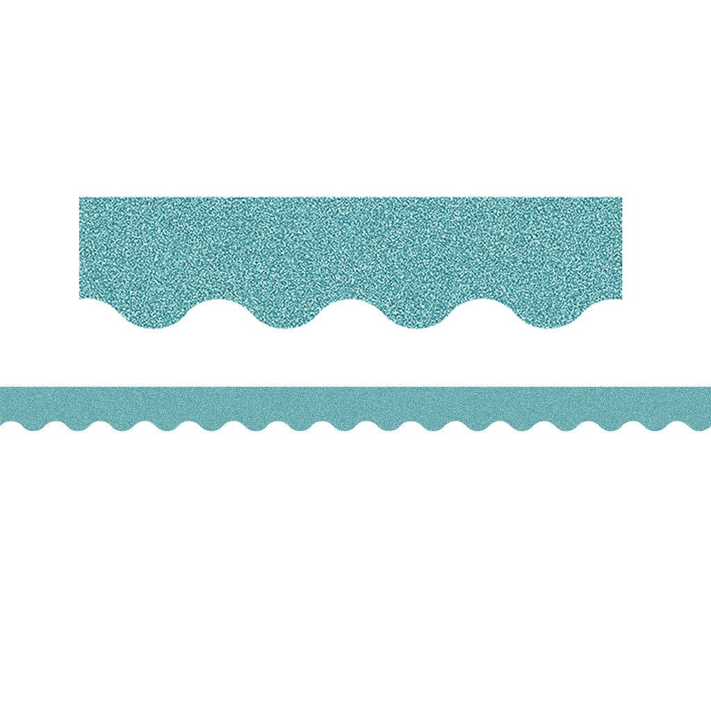 Ice Blue Glitz Scalloped Border
