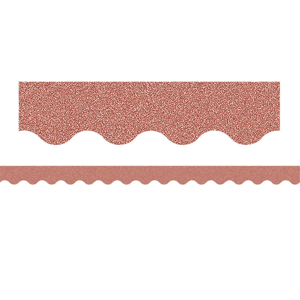 Rose Gold Glitz Scalloped Border