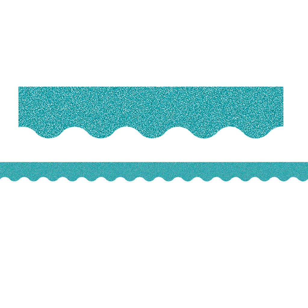 Teal Glitz Scalloped Border Trim