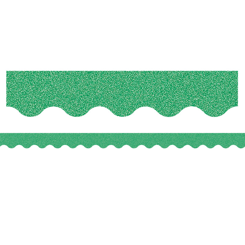Green Glitz Scalloped Border Trim