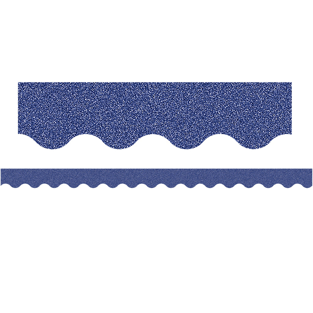 Dark Blue Glitz Scalloped Border