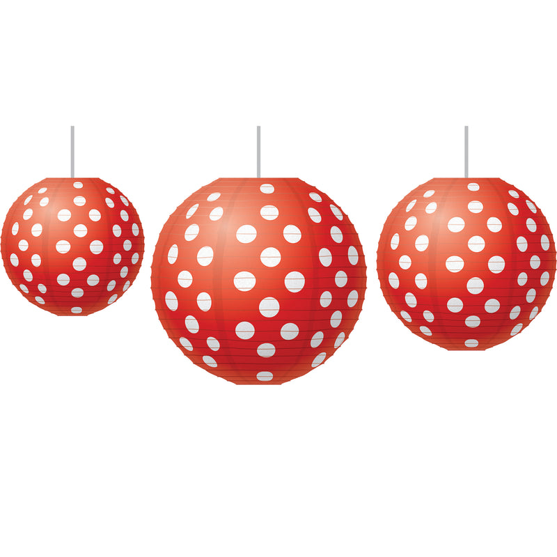 (3 St) Red Polka Dots Paper Lantern