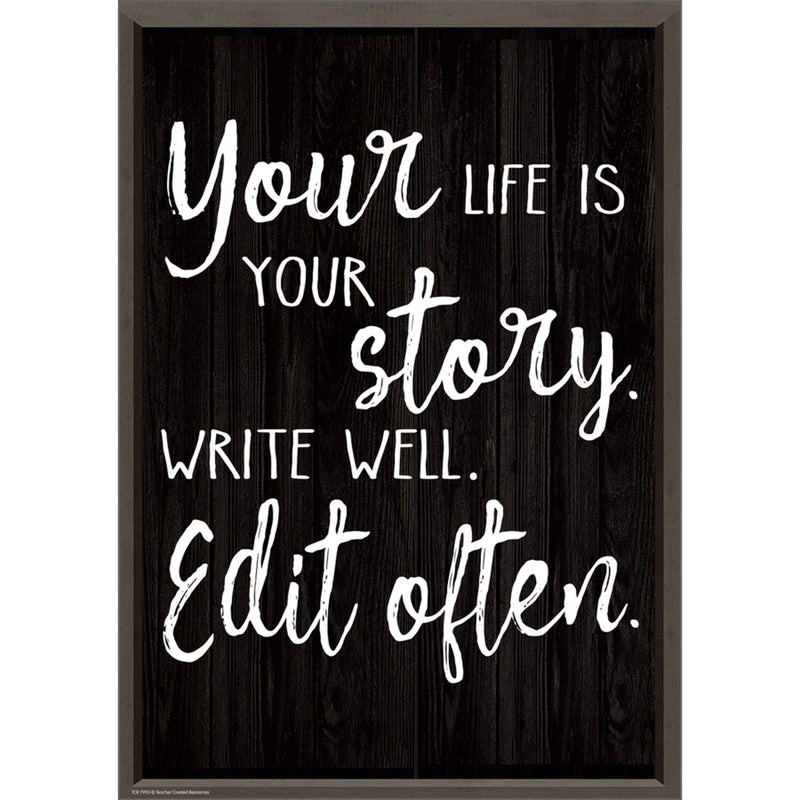 Your Life Is Your Story Write Well Edit Often Positive Poster