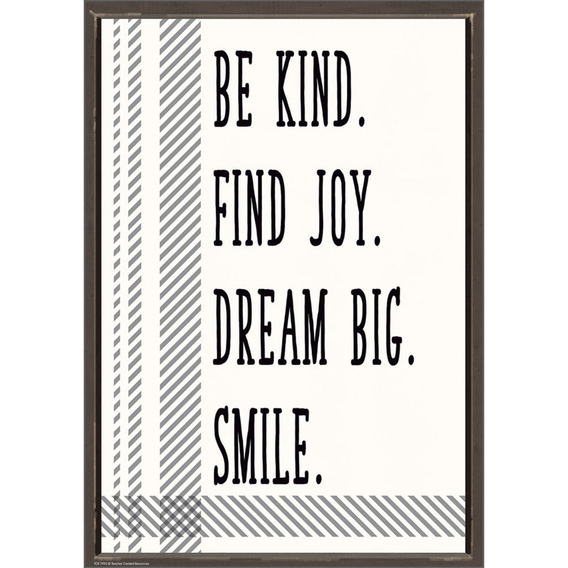 Be Kind Find Joy Dream Big Smile Positive Poster