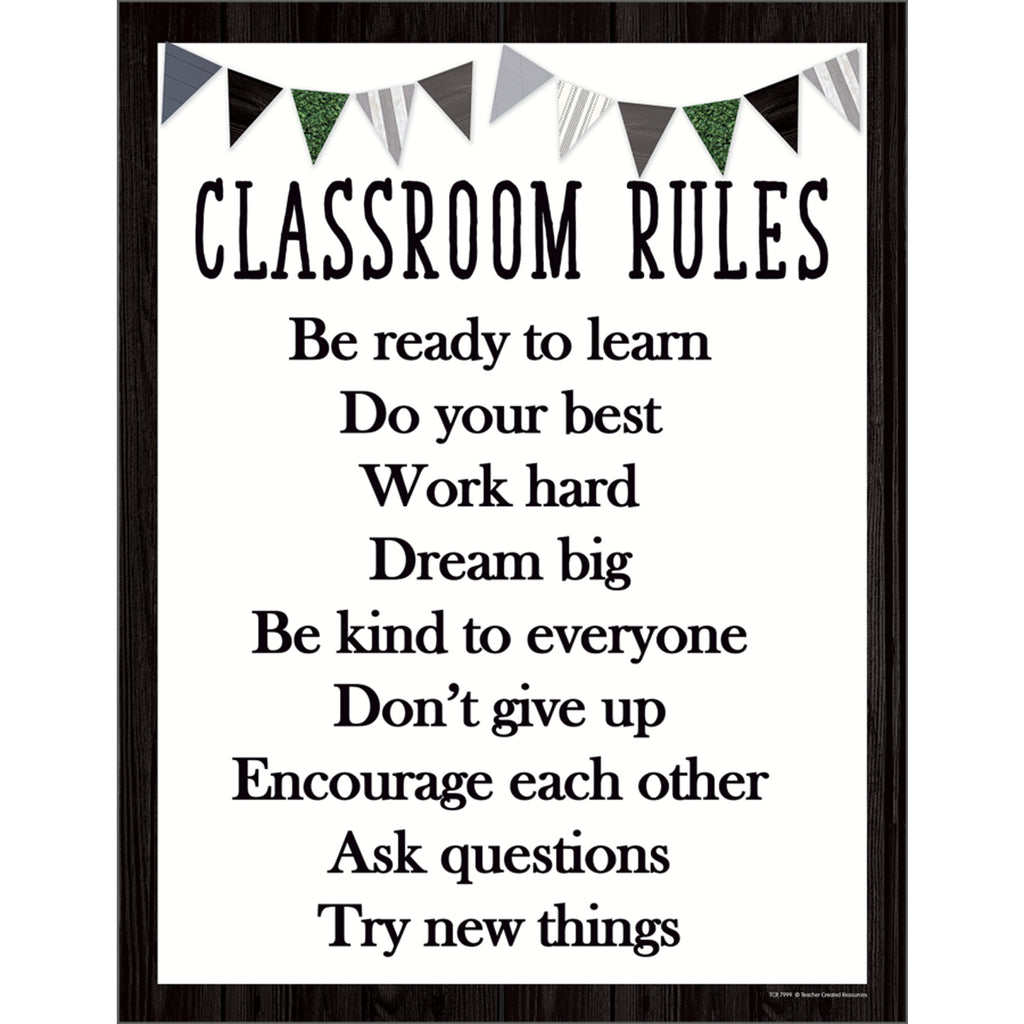Modern Farmhouse Classroom Rules Chart