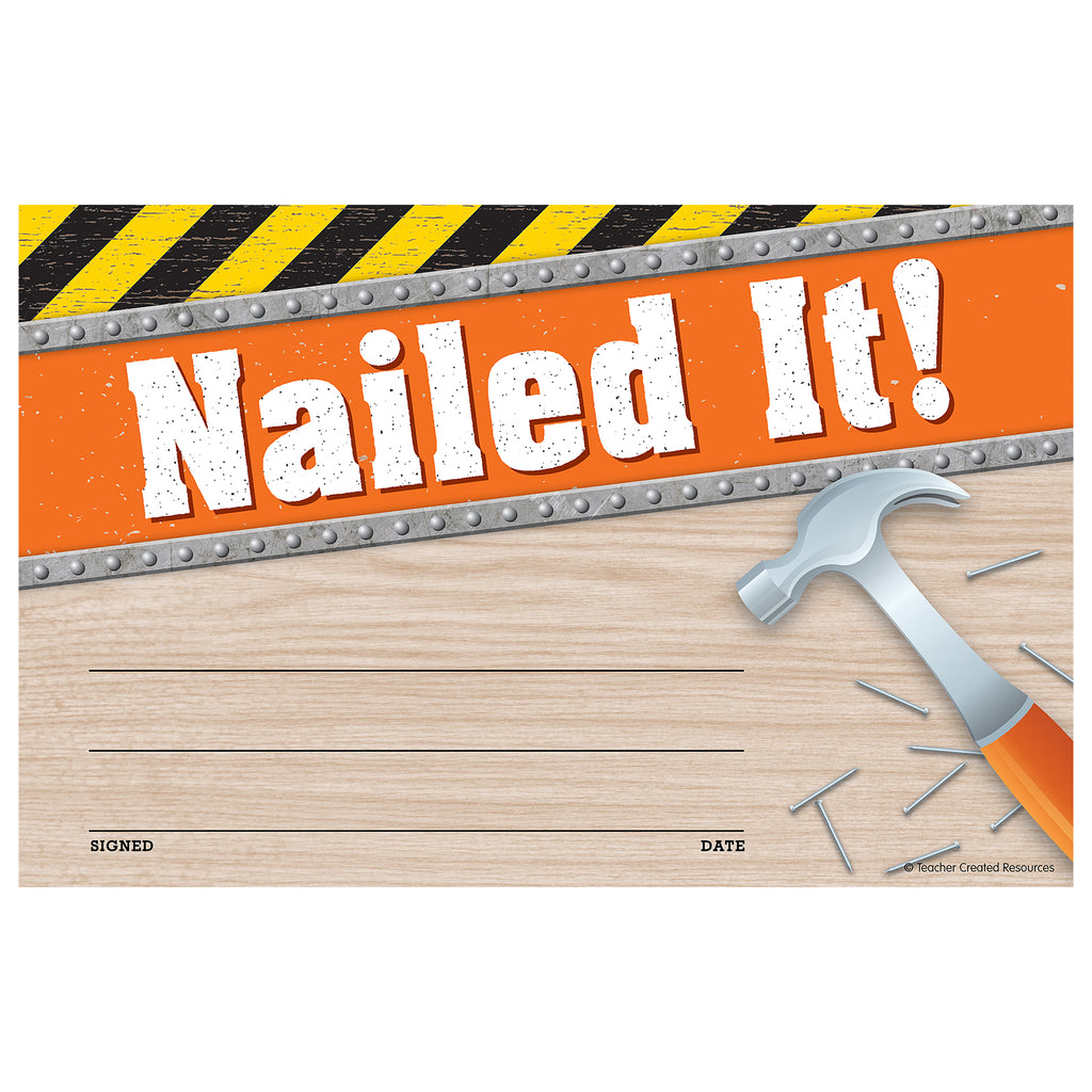 (6 Pk) Under Construction Nailed It Awards