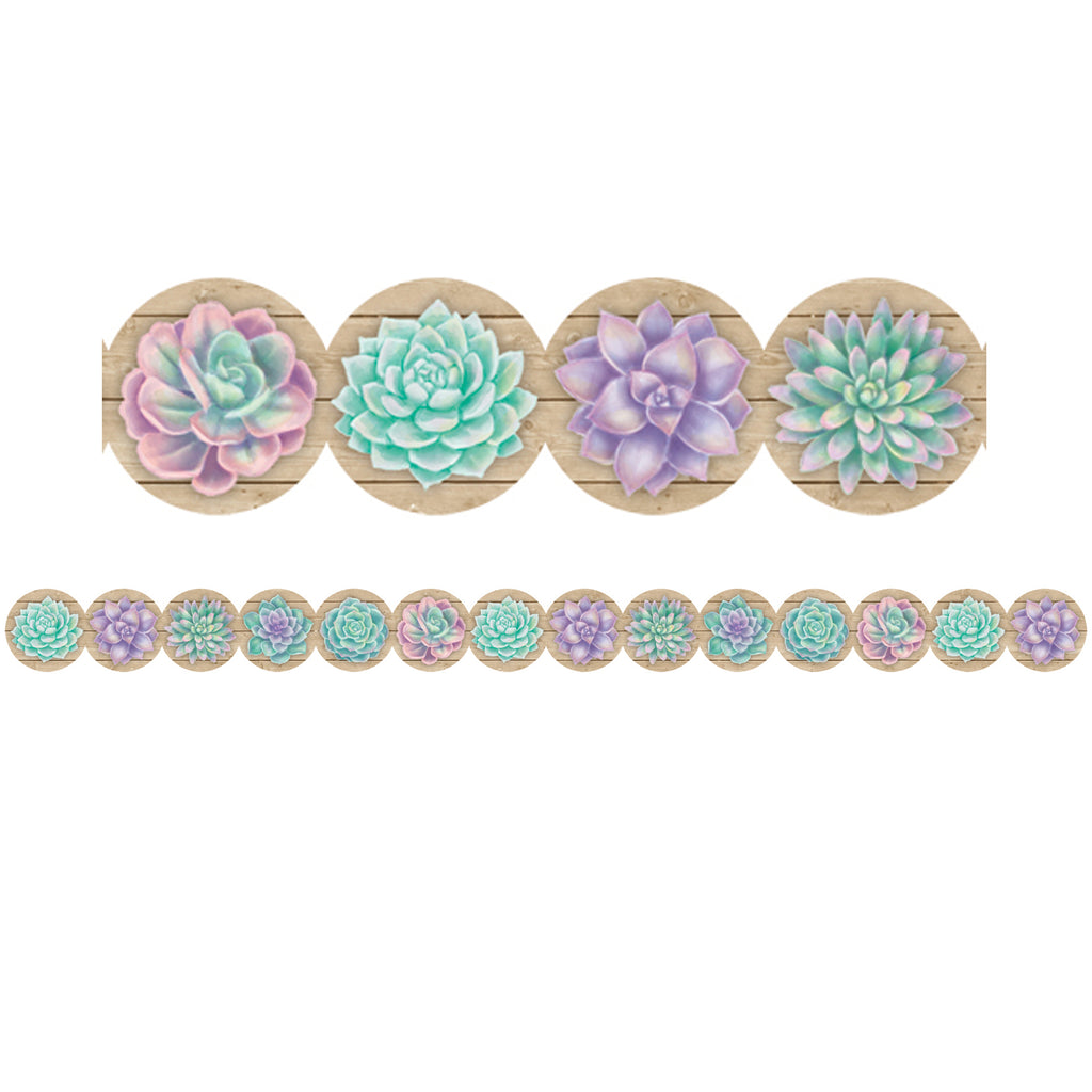 (6 Pk) Rustic Bloom Succulents Diecut Trim