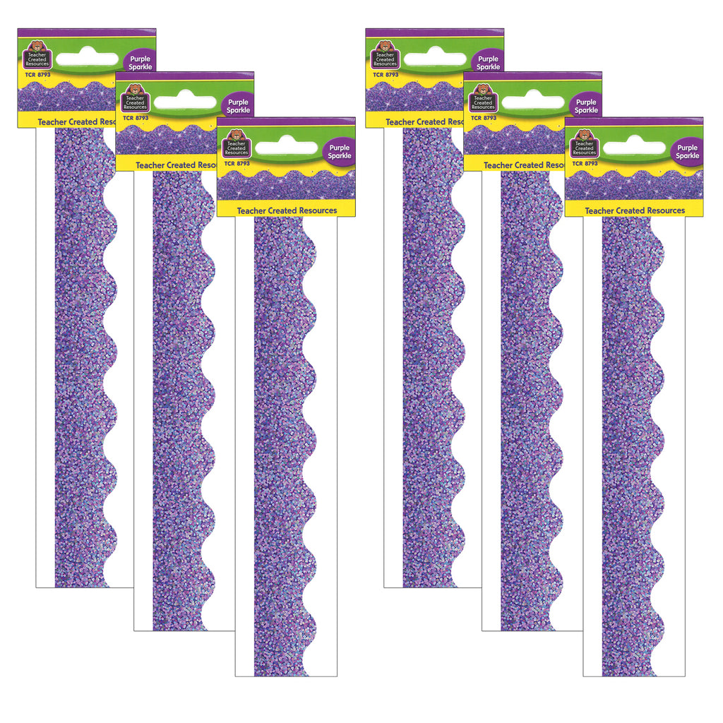 (6 Pk) Purple Sparkle Scalloped Border