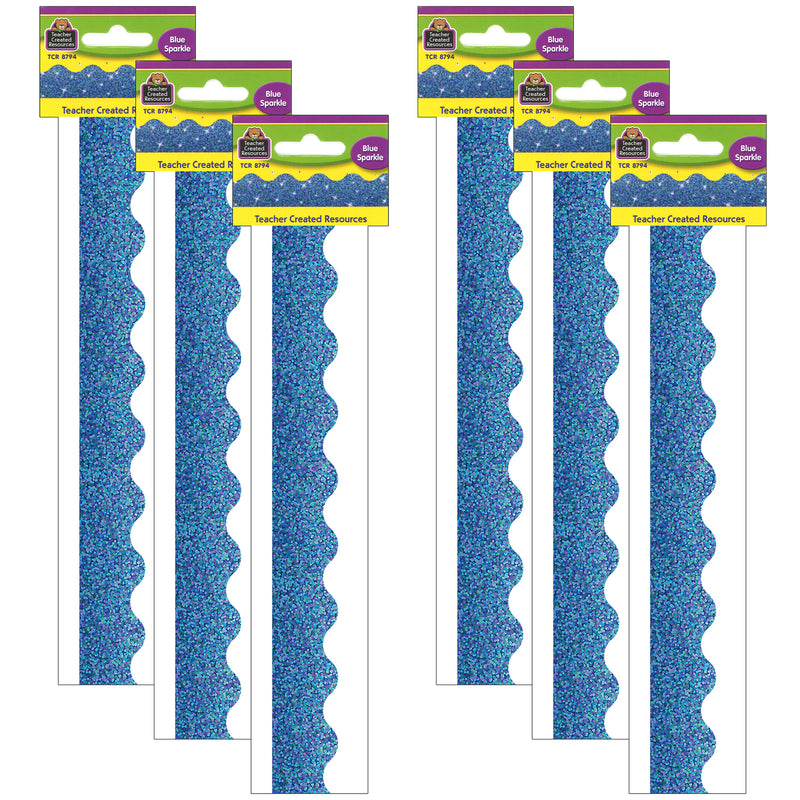(6 Pk) Blue Sparkle Scalloped Border Trim