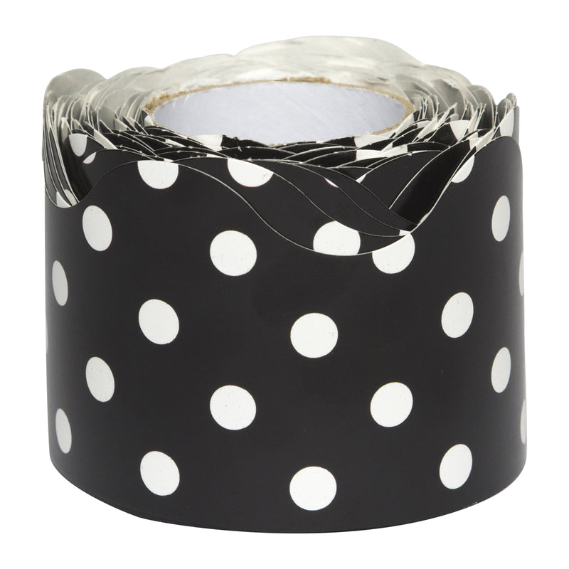 Black Polka Dots Scalloped Border