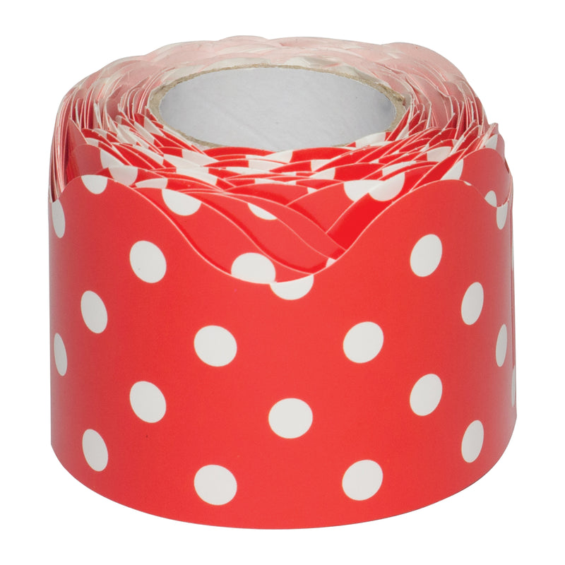 Red Polka Dots Scalloped Border