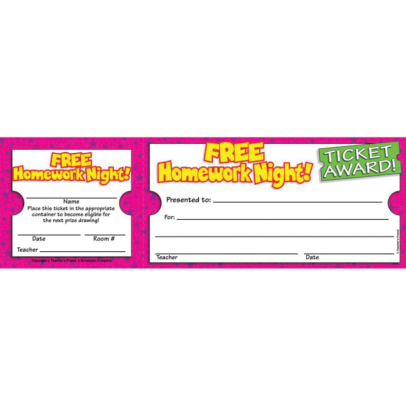 (12 Pk) Free Homework Night Ticket Awards