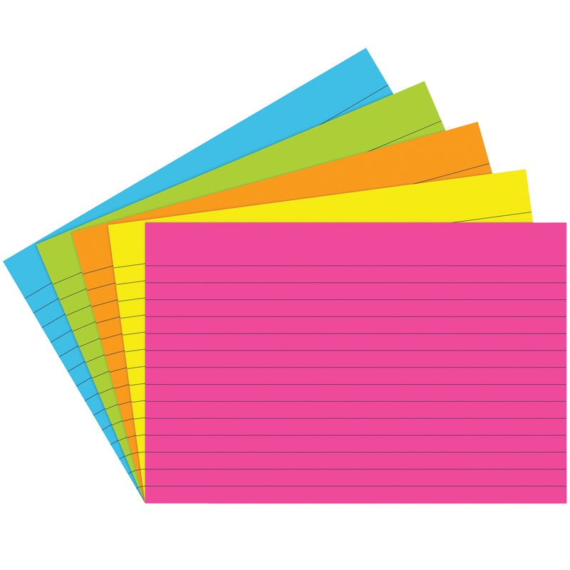(6 Pk) Index Cards 4x6 Lined Brite Assorted 75 Per Pk