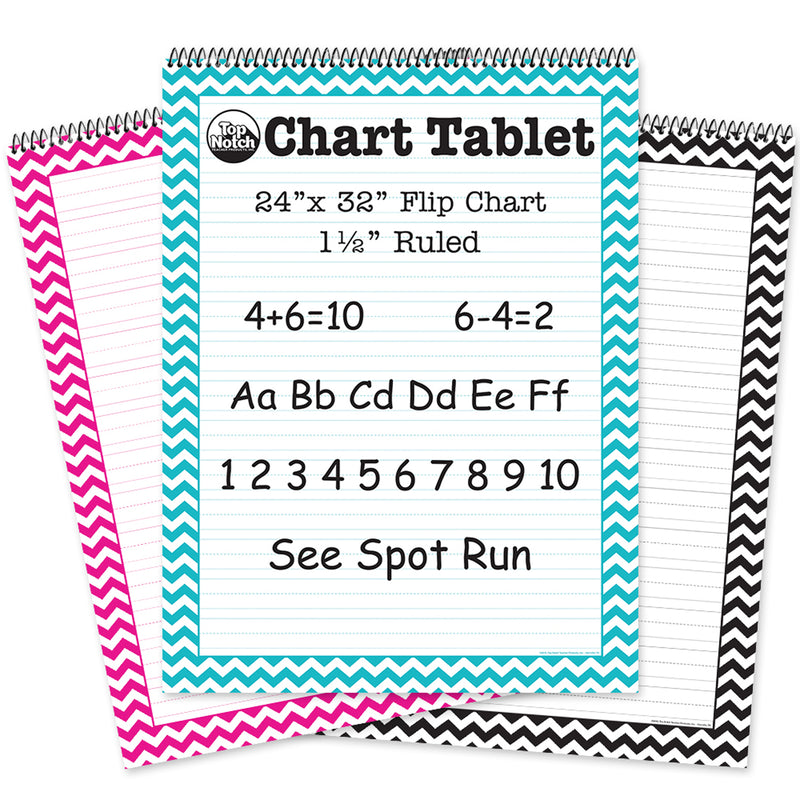 3 Pk  Pink-teal Black Chevron Cht Tab Ruled
