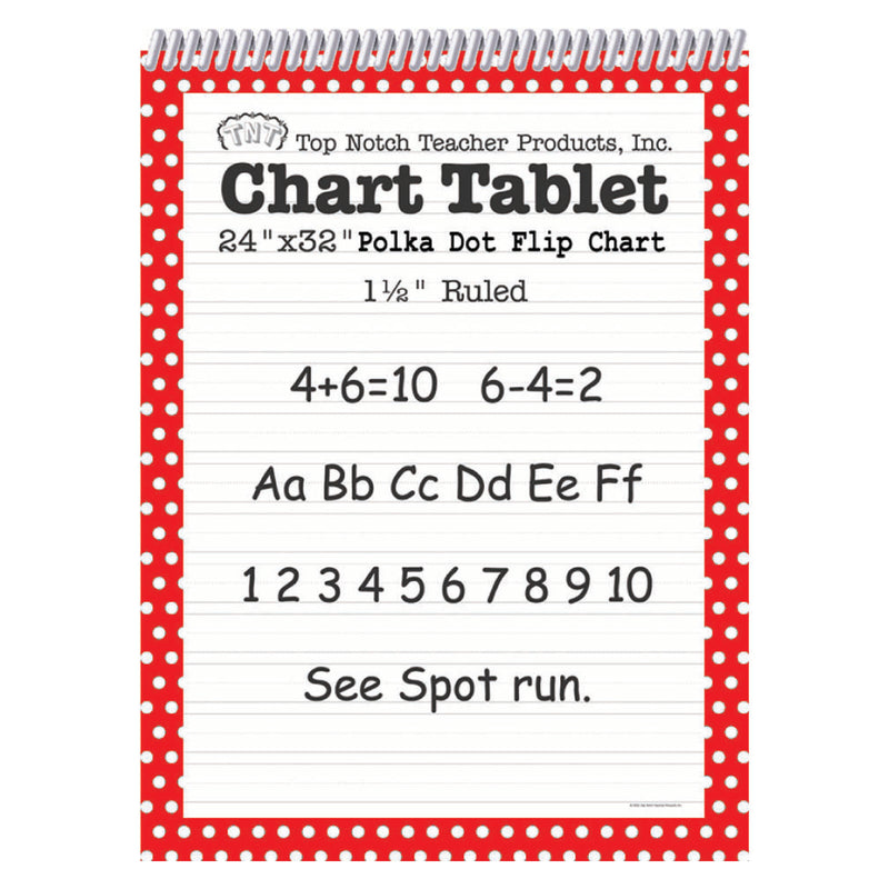 Polka Dot Chart Tablet Red 1.5 Ruled
