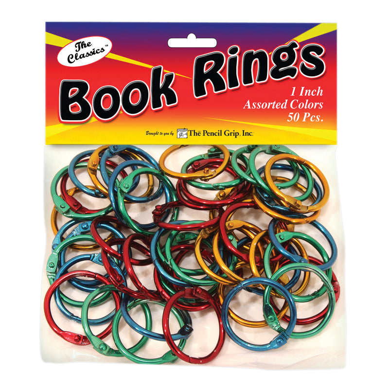 (3 Pk) Book Rings Assorted Colors 50 Per Pk