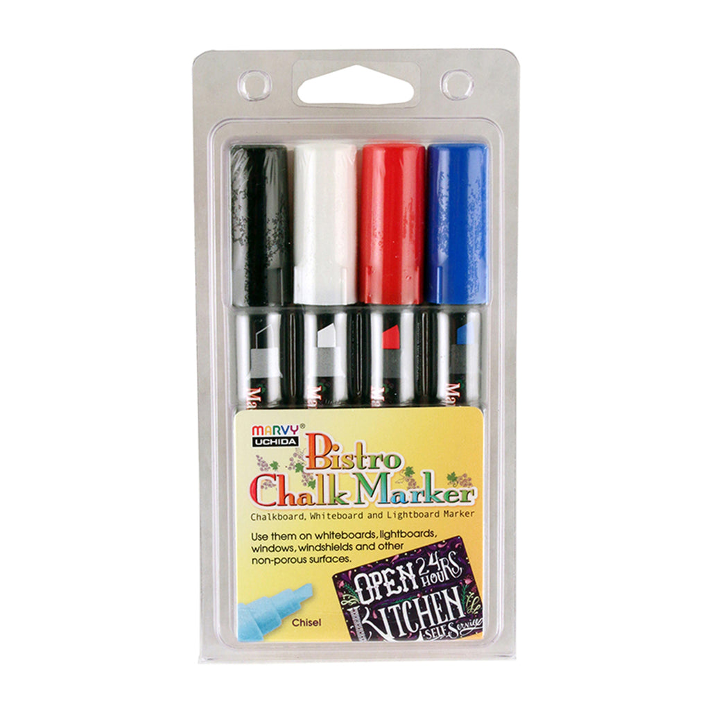 (2 Pk) Bistro Chalk Markers Chisel Tip Wht Blk Red Blu 4 Clr Per Pk