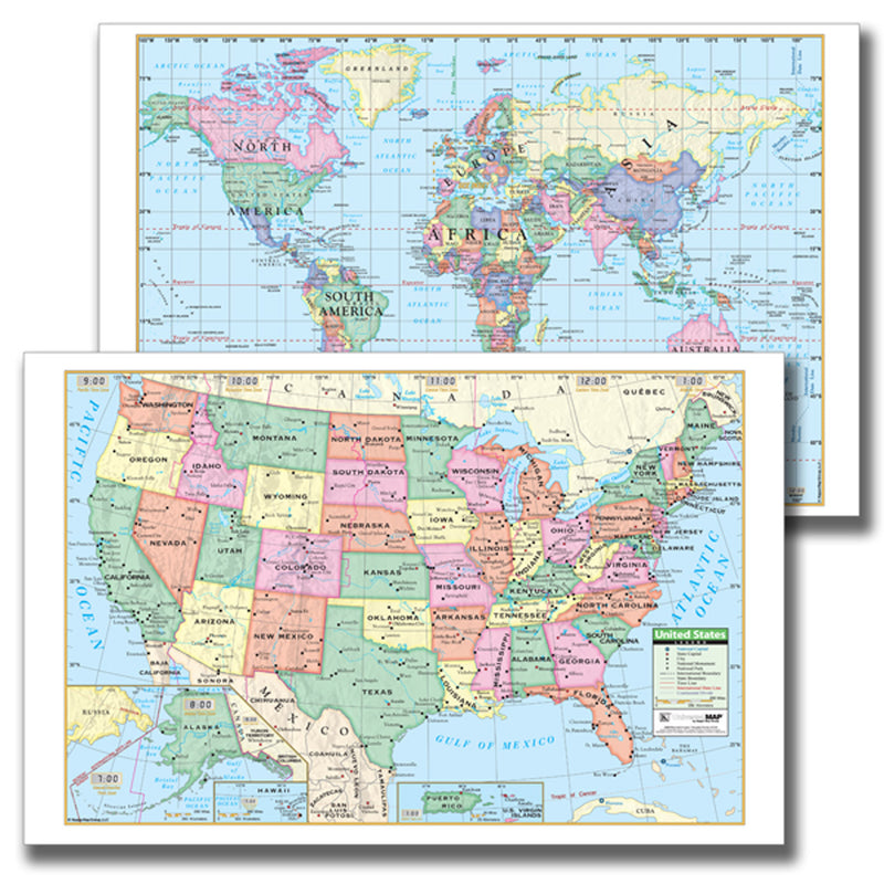 Laminated Us-world Notebook Maps 10pk
