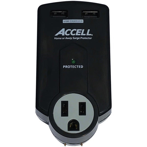 Home or Away Power Station 3-Outlet Travel Surge Protector (Black)
