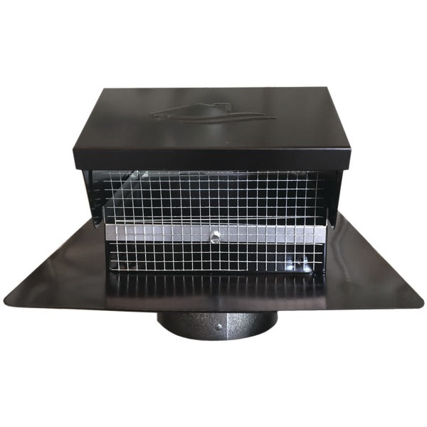 "Black Metal Roof Vent Cap (4"" Collar)"