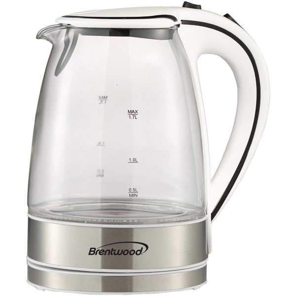 1.7-Liter Cordless Tempered-Glass Electric Kettle (White)