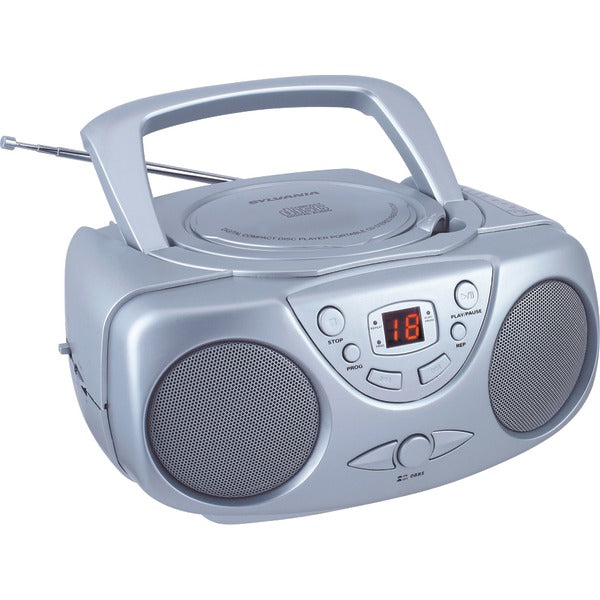 Portable CD Boom Box with AM-FM Radio (Silver)