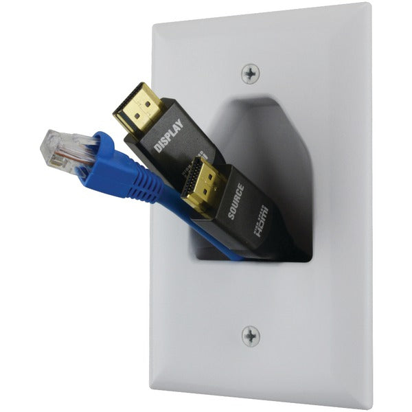 Midsize 1-Gang Recessed Cable Plate