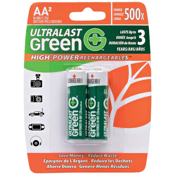 Green High-Power Rechargeables AA NiMH Batteries, 2 pk