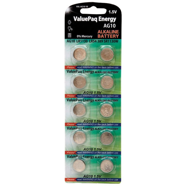 Dantona VAL-AG10-10 ValuePak Energy AG10 Silver Oxide Button Cell Batteries, 10 pk