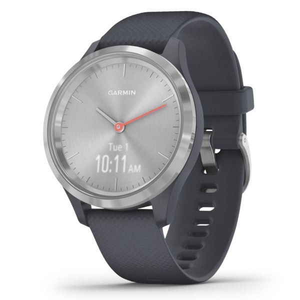 vivomove(R) 3S Hybrid Smartwatch (Silver Stainless Steel Bezel with Granite Blue Case and Silicone Band)