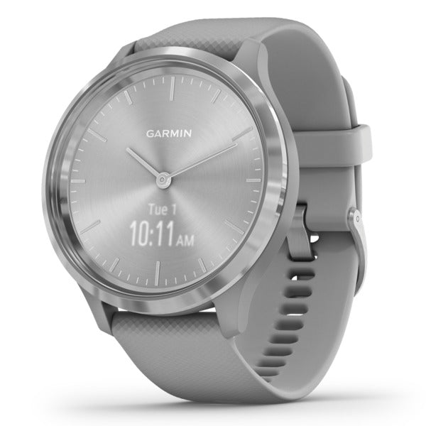 vivomove(R) 3 Hybrid Smartwatch (Silver Stainless Steel Bezel with Powder Gray Case and Silicone Band)