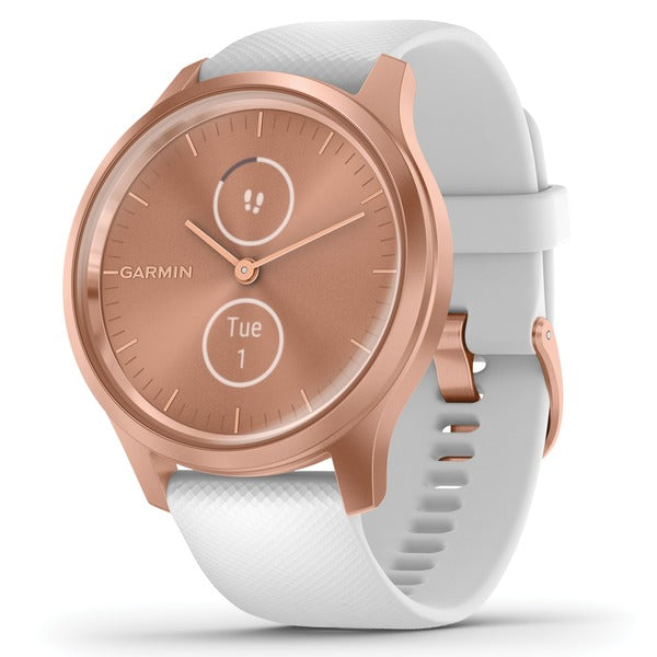 vivomove(R) Style Hybrid Smartwatch (Rose Gold Aluminum Case with White Silicone Band)