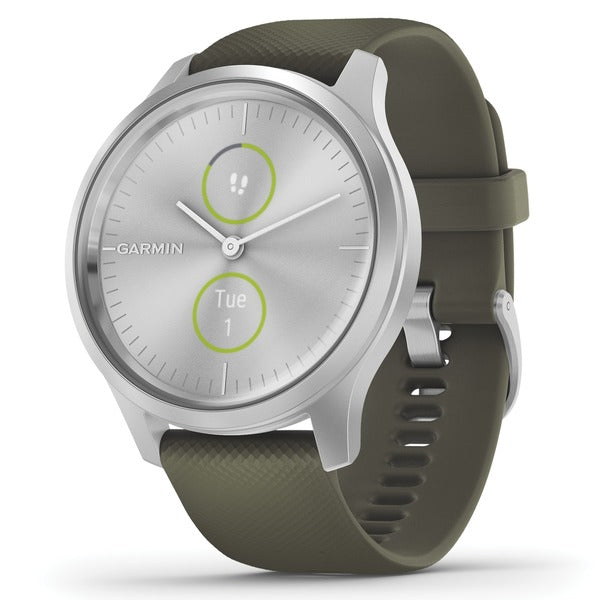 vivomove(R) Style Hybrid Smartwatch (Silver Aluminum Case with Moss Silicone Band)
